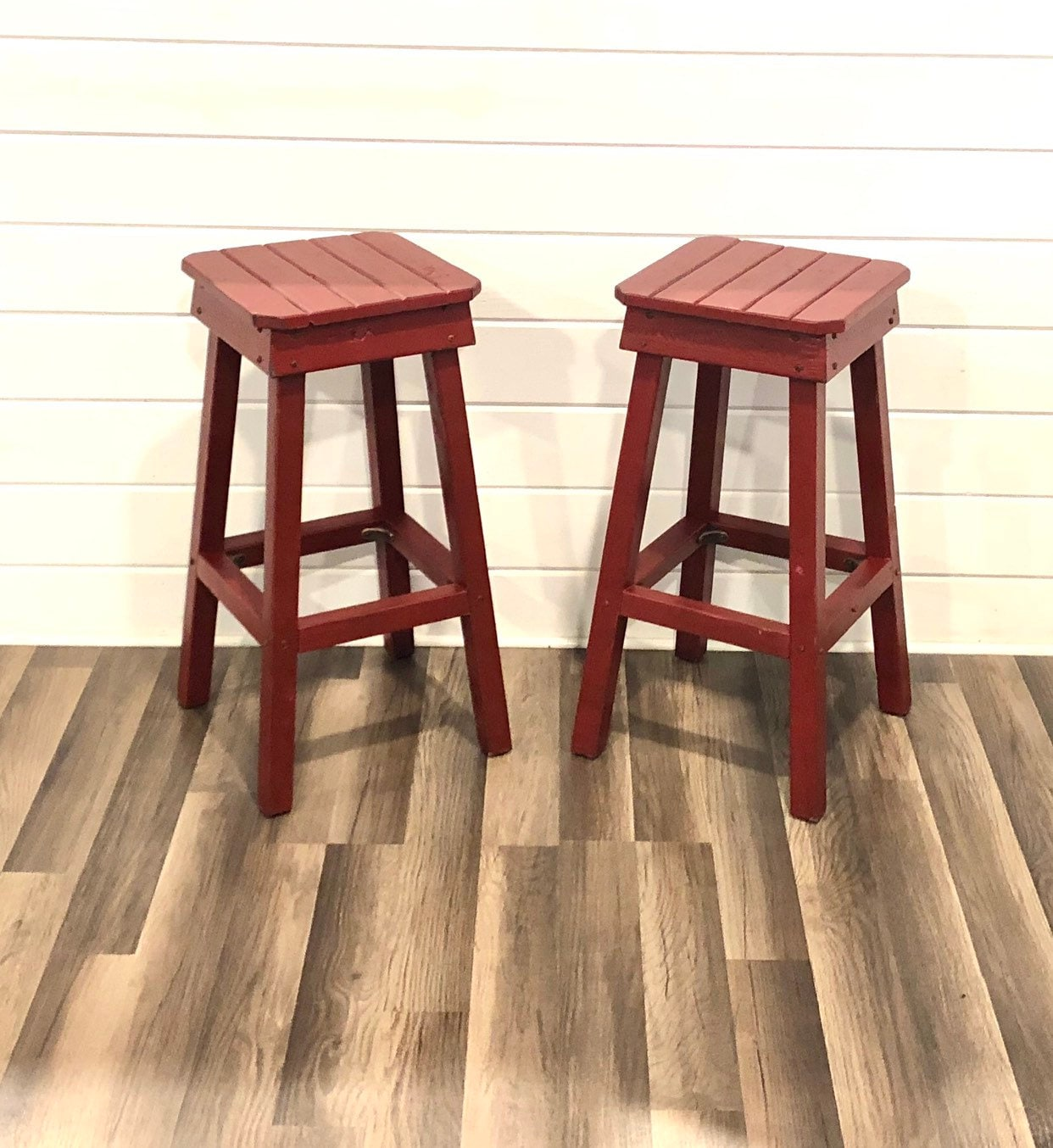 Distressed Bar Stool Set/Two Vintage Stools/Farmhouse Style Barstools/2 Bohemian Style Stools/Shabby Chic/Custom Height/White Stools for sale