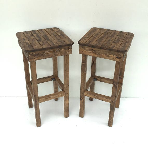 Excellent Wooden Barstool Set Rustic Stools Modern Farmhouse Bar Stools 2 Light Colored Stools Bohemian Furniture Two Cottage Chic Stools Uwap Interior Chair Design Uwaporg