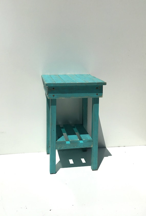 pretty nice e4fe6 3c47e Distressed Night Stand/Turquoise Distressed End Table/Bohemian Style/Bed  Side Tables/Rustic Table/Farmhouse Side Table/Vintage/Wooden Table