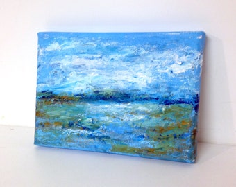 Unsigned Original Mixed Media Painting 7x5 on Stretched Canvas
