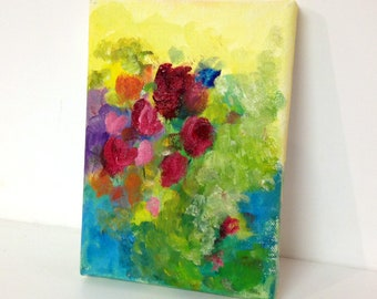 Unsigned Original Mixed Media Painting 5x7 on Stretched Canvas