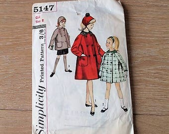 Vintage Simplicity Sewing Pattern/ 5147/ Girls Coat & Hat Pattern/ Craft Supplies and Tools/ Haberdashery/ Sewing/ Sewing Pattern (006I)