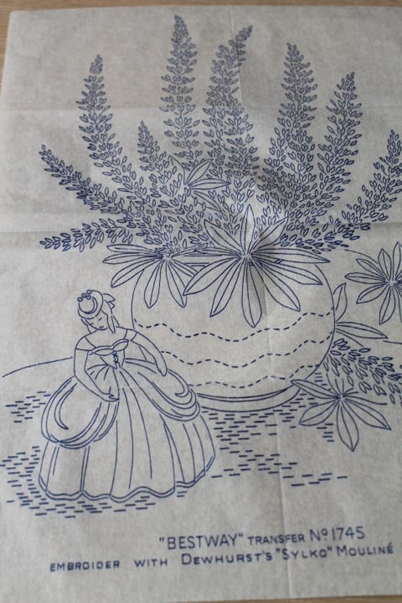 Vintage embroidery pattern /& iron on transfer-Crinoline lady design in 5 sizes