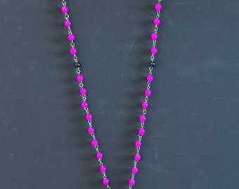 Handmade rosary pink and white with gold cross