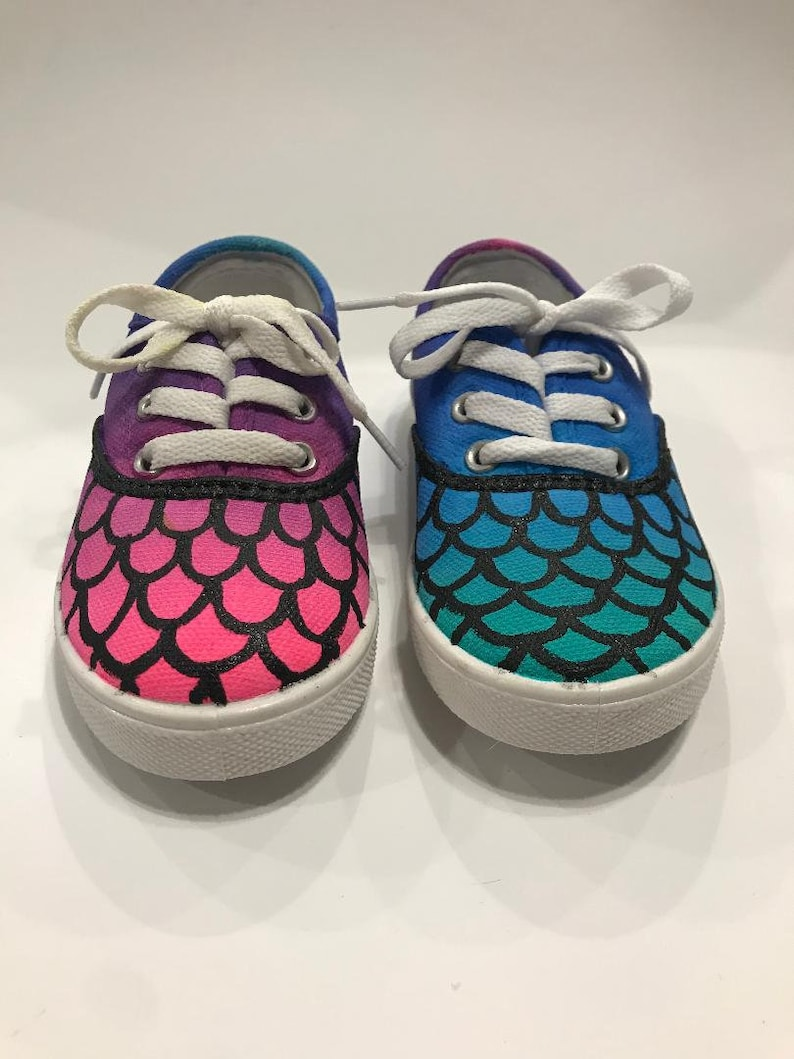 20f77281ce4c7 Hand Painted Custom Ombre Mermaid Shoes