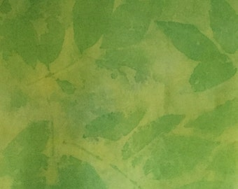 Green Scarf Silk Long Neck Scarf Hand-printed Yellow Eco-dyed Leaf Print Hand-painted Hand-dyed Brooklyn Designer 14 x 72 Mother's Day Gift