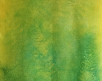"""Green Silk Scarf Hand-printed Scarf Gold Yellow Fern Eco Leaf Print Hand-painted Hand-dyed Brooklyn Designer 14"""" x 72"""" Mother's Day Gift Mom"""