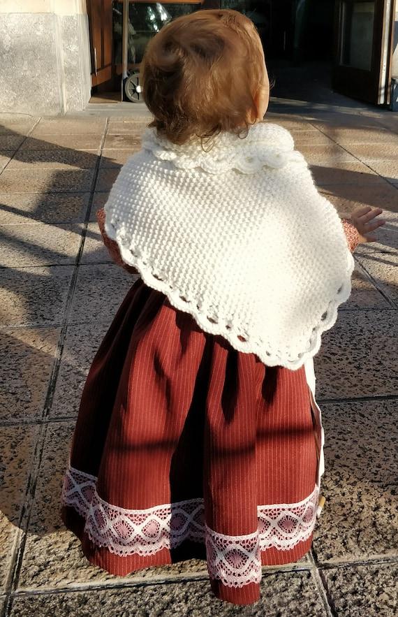 Patron toquilla de caserita a dos agujas y puntilla a crochet | Etsy