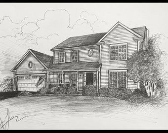Custom Hand Drawn Picture of Your House