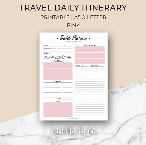 Travel Daily Itinerary Planner Vacation Holiday Printable