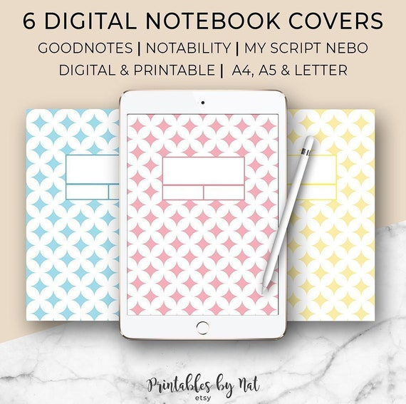 graphic regarding Printable Notebook Covers titled 6 Electronic and Printable Laptop computer Handles, Make a difference Address, Goodnotes, Notability, MyScript Nebo, A4 A5 Letter, Template, Binder, Ipad Pill