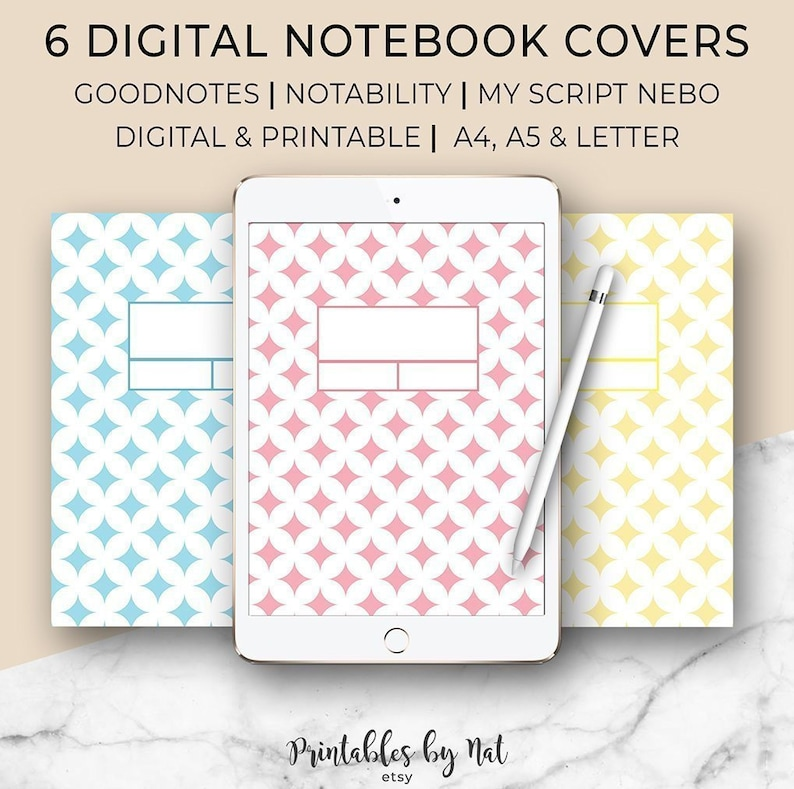 image regarding Printable Notebook Cover named 6 Electronic and Printable Laptop computer Addresses, Matter Deal with, Goodnotes, Notability, MyScript Nebo, A4 A5 Letter, Template, Binder, Ipad Pill