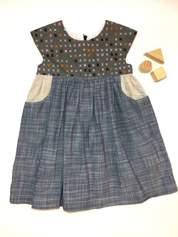 53938258d39e 2T Girls Cotton Linen Geranium Dress Baby Girl Dress Baby