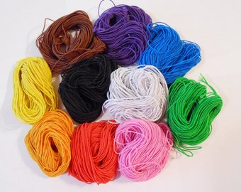 25 mts 27 yds Elastic Cord 1 mm Diameter 10 Colors Top Quality Cotton Wrapped Rubber Beading Cord Stretch Cord Art Crafts Jewelry Supplies