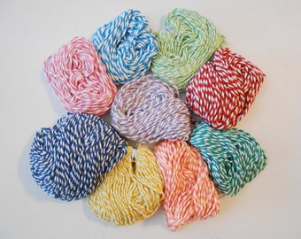 Colored Bakers Twine in 9 Colors Length 10 Mts - 11 Yds Diameter 1.5mm Button Art Camp Crafts Doll Making Beading Baking Packaging Wrapping