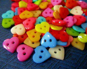 100 Plastic Heart Buttons Resin Buttons 11 mm Heart Shaped Buttons Kids Buttons Mixed Colors Button Crafts Sewing Knitting Crochet Supplies