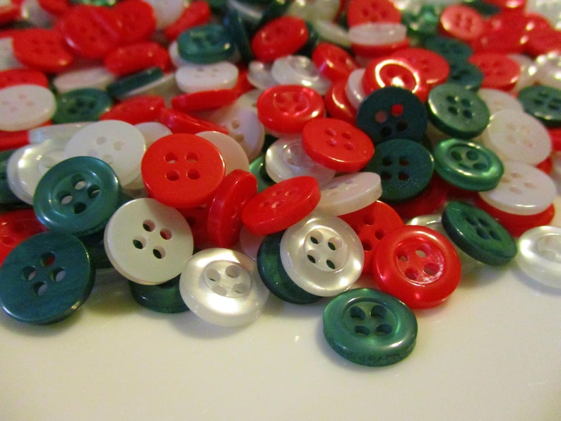 100 Christmas Buttons Red Green White Button Art Button Crafts Button Earrings Button Ornaments Button Jewelry Button Bracelet