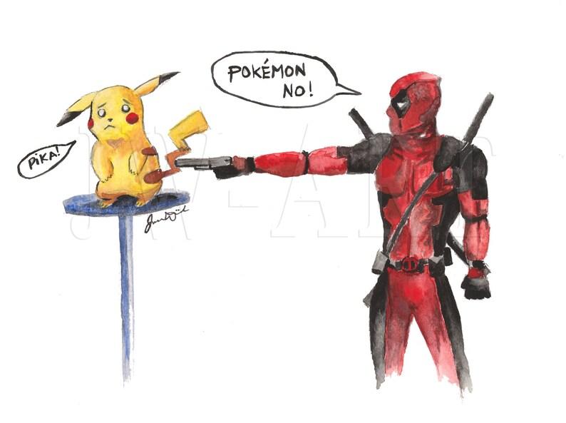 Comic Art Pokemon Deadpool Pikachu Print Of Original Etsy