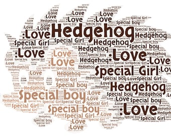 Personalised Hedgehog Word art picture