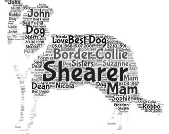 Personalised Border Collie Word Art picture