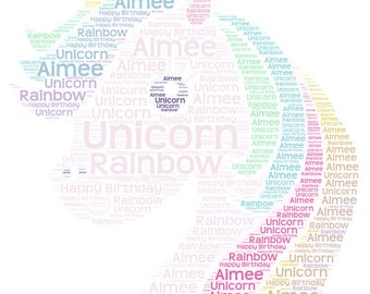 Rainbow Unicorn Word art picture