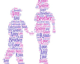 Personalised Brother and Sister Word Art picture print
