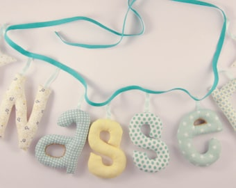 Garland name 6 letters with two stuffed cloth - personalized birthday gift idea - custom