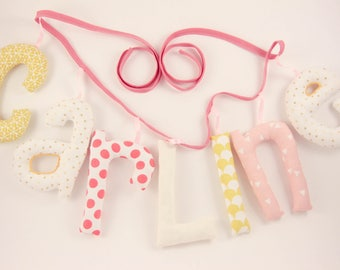 Garland name 7 letters stuffed cloth - personalized birthday gift idea - custom