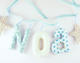 Garland name 3 letters with two stuffed cloth - personalized birthday gift idea - custom