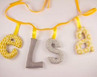 Garland name 4 letters stuffed cloth - personalized birthday gift idea - custom