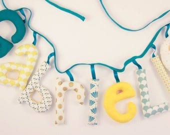Garland name 9 letters and + stuffed cloth - personalized birthday gift idea - custom