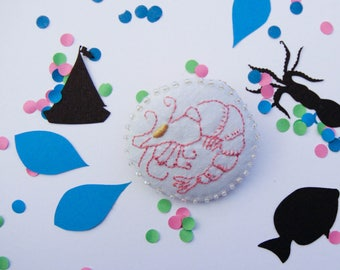 """Round brooch """"shrimp"""" - embroidery handmade surrounded by clear beads"""