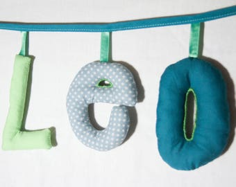 Garland name 3 letters stuffed cloth - personalized birthday gift idea - custom
