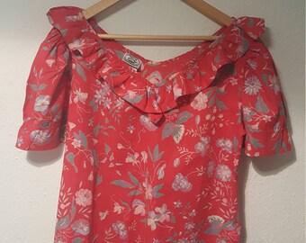 1980s Laura Ashley vintage blouse•floral blouse•red blouse•cotton blouse•ladies top•womens top•UK 12/14/•US 10/12