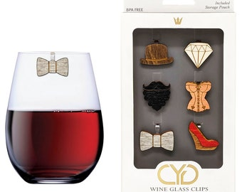Elephant Wine Charms // Drink Markers Wine Glass Clips by Claim Your Glass C.Y.G Set of 6 - Storage travel pouch Included