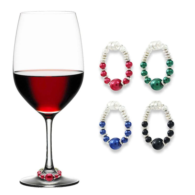 Set of 6 Magnetic Drink Markers for Stemmed or Stemless Glasses Claim Your Glass BASEBALL Cocktail//Wine Charm Drink Markers