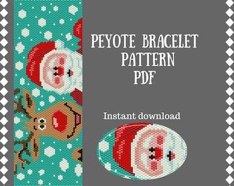 Christmas peyote bracelet pattern Beading pattern Peyote Stitch Beadwork Pattern Delica Seed bead pattern beaded pattern PDF Christmas gift