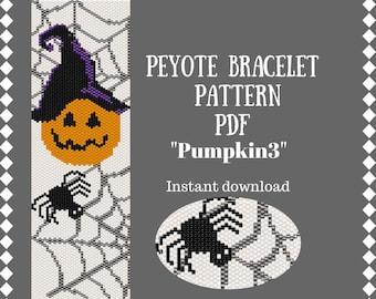 Seed Bead Pumpkin Bracelet Pattern Peyote Halloween Bead Weaving Pattern Peyote Stitch Beading beadwork patterns Bracelet design beading