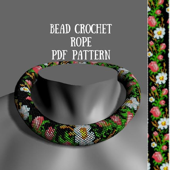 Bead Crochet Necklace Pattern Beaded Rope Pattern Summer Etsy