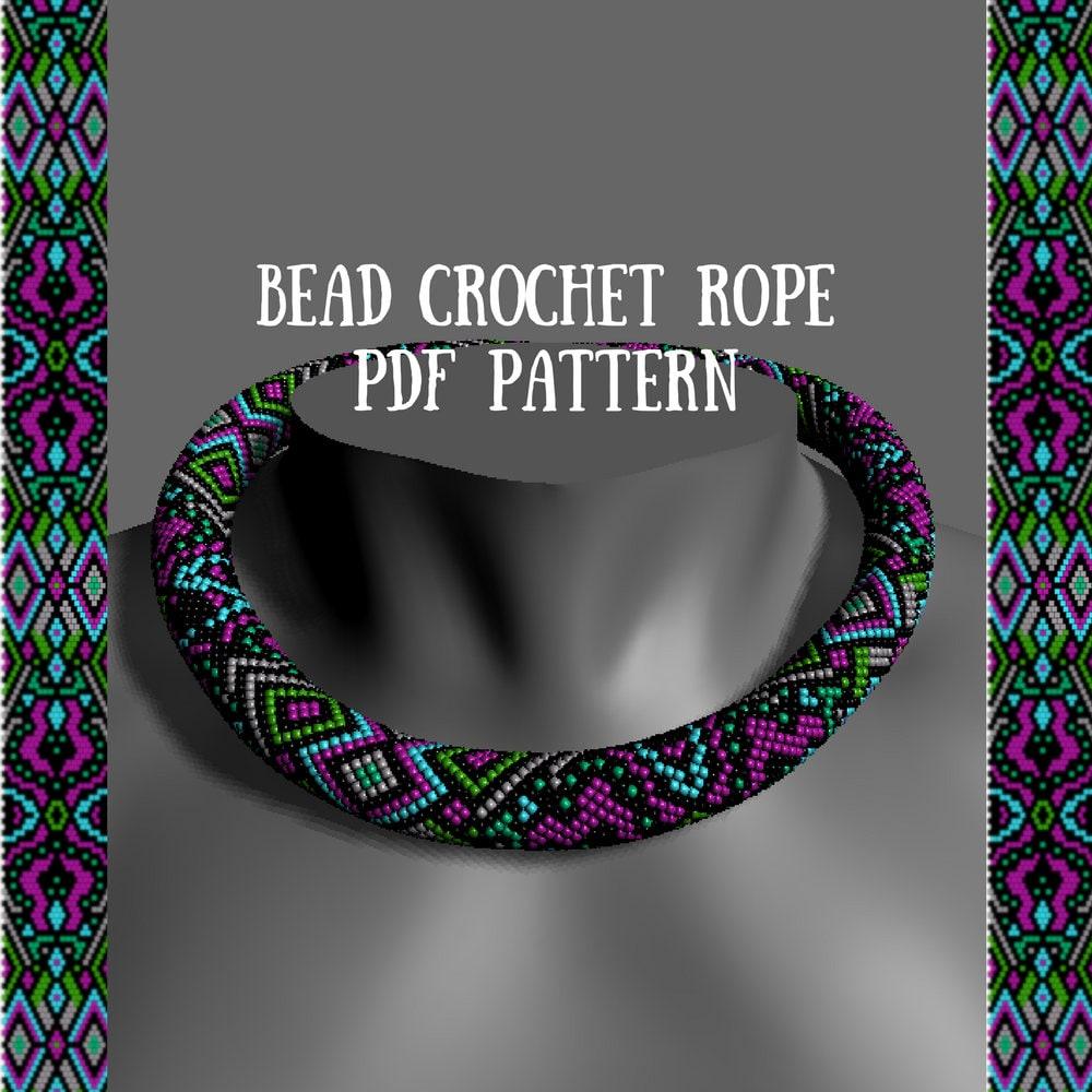 Bead crochet rope pattern PDF pattern Fiesta