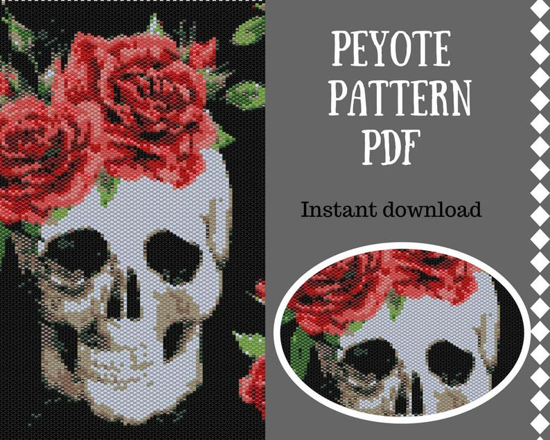 Peyote pattern Halloween peyote pattern loom Skull Beadwork Pattern Beading patterns wall bead pattern Peyote Stitch Pattern Miyuki Delica