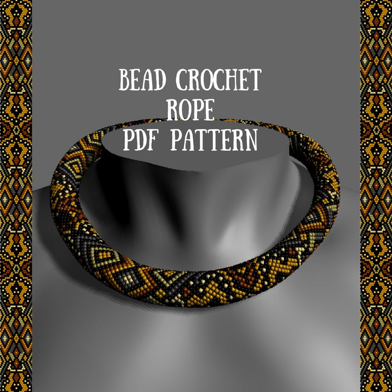 Bead Crochet Necklace Pattern Pdf Pattern Tutorial Bead Etsy