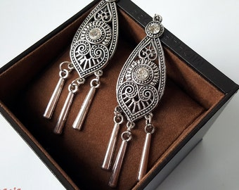 Earring chandelier tribal silver retro vintage
