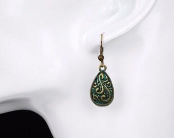 Earrings retro antique style bronze