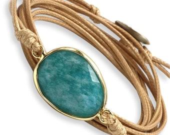 Wickelarmband - Amazonit Blau