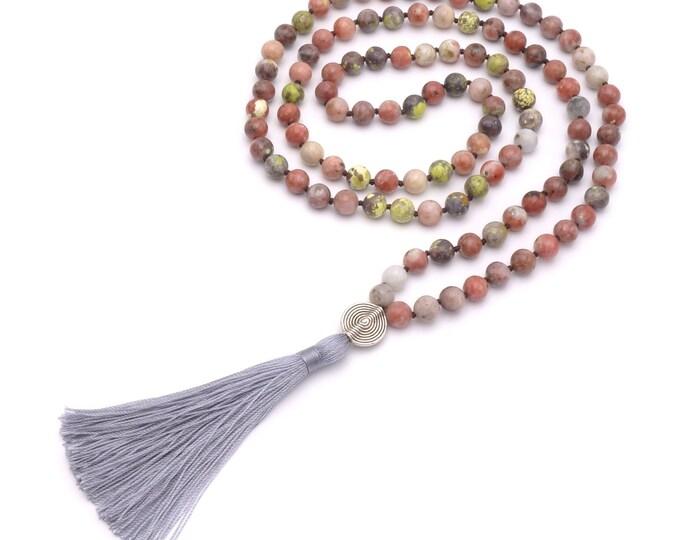 BENAVA Women's Mala Chain Gem Gem Jaspis Pearl Pendant tassel Bunt Long Necklace 100 cm