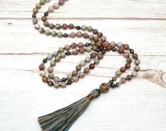 Mala Kette - Jaspis Pyrit 108 Perlen