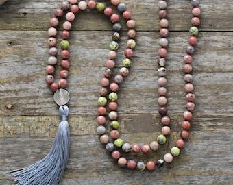 Mala Halskette - Jaspis 108 Perlen Bunt