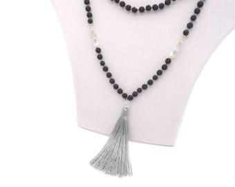 Boho Damen Halskette Lava Stein Perlen