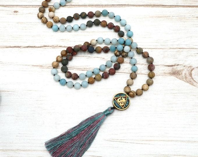 Mala Kette - Amazonit 108 Perlen